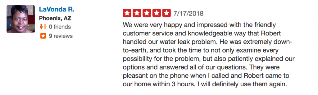 Yelp Review for water heater plumbing services