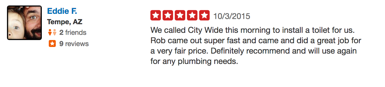 Mesa AZ, Plumbing Review from Eddie F.
