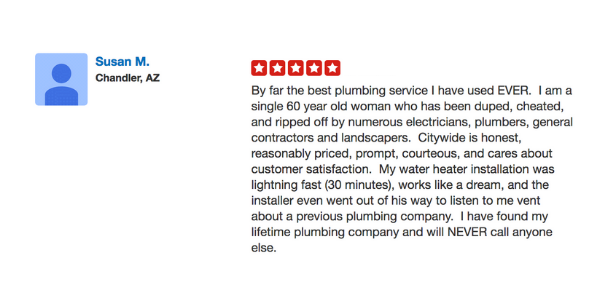 Water Heater installation review for City Wide Plumbing, Mesa Arizona