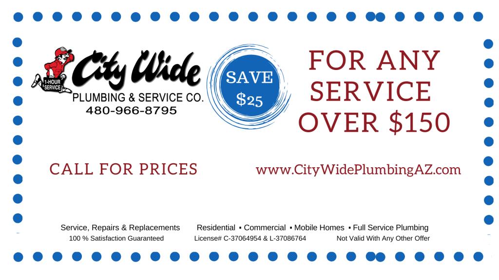 Coupon for Chandler AZ plumbing with City Wide Plumbing Co.