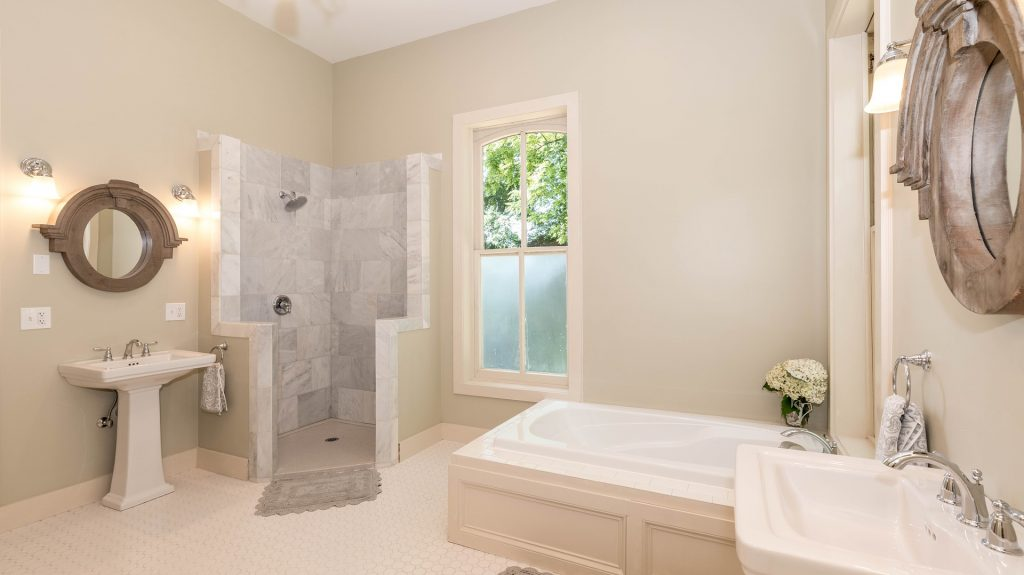 bathroom, shower and tub and sink